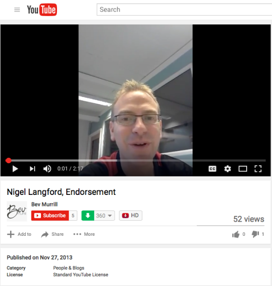 Nigel Langford, Endorsement.png
